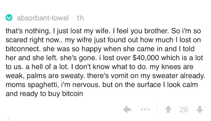 Bitconnect lost money comment joke