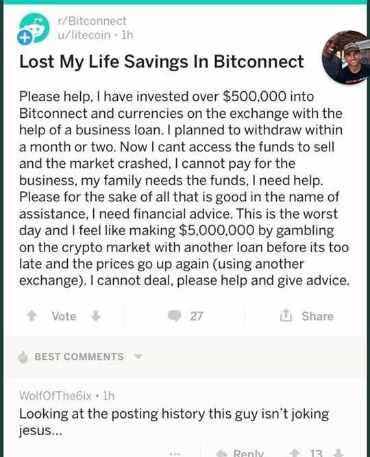Lost life savings in Bitconnect
